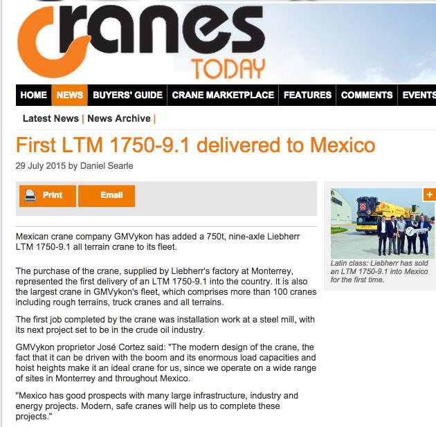 CRANES Today publicó la llegada a GMVykon de la grúa LTM 1750-9.1 modelo 2015