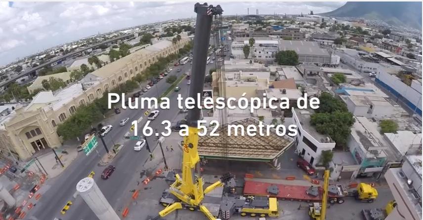 Grúa LTM 1750-9.1 primeras maniobras en Monterrey